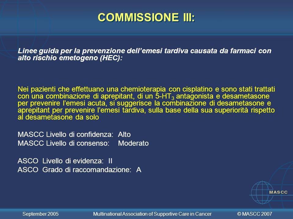 COMMISSIONE III: Linee guida per la prevenzione dell'emesi tardiva causata da farmaci con alto rischio emetogeno (HEC):