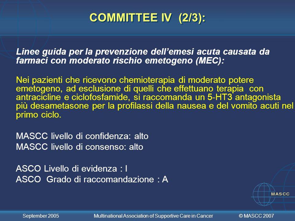 COMMITTEE IV (2/3): Linee guida per la prevenzione dell'emesi acuta causata da farmaci con moderato rischio emetogeno (MEC):