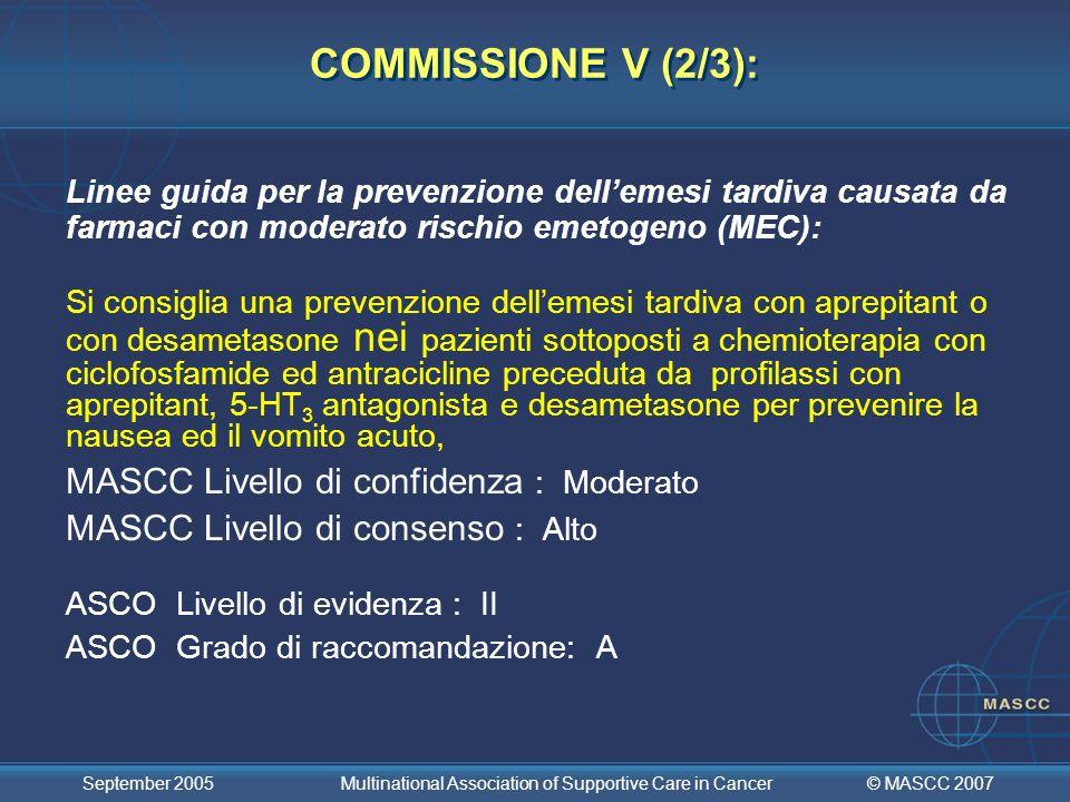 COMMISSIONE V (2/3): MASCC Livello di confidenza : Moderato