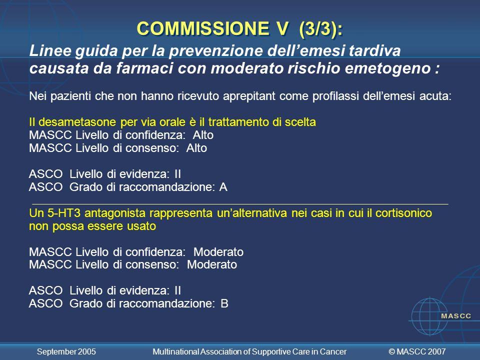 COMMISSIONE V (3/3):Linee guida per la prevenzione dell'emesi tardiva causata da farmaci con moderato rischio emetogeno :