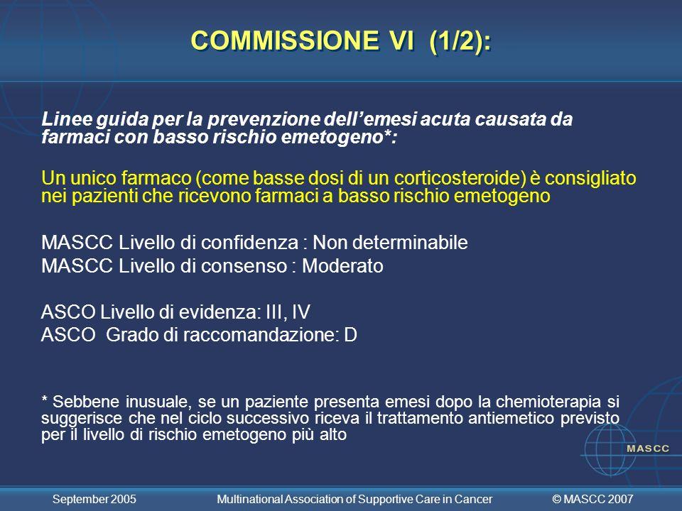 COMMISSIONE VI (1/2): MASCC Livello di confidenza : Non determinabile
