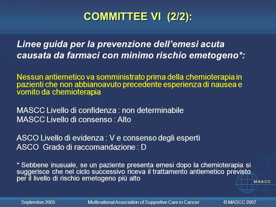 COMMITTEE VI (2/2):Linee guida per la prevenzione dell'emesi acuta causata da farmaci con minimo rischio emetogeno*: