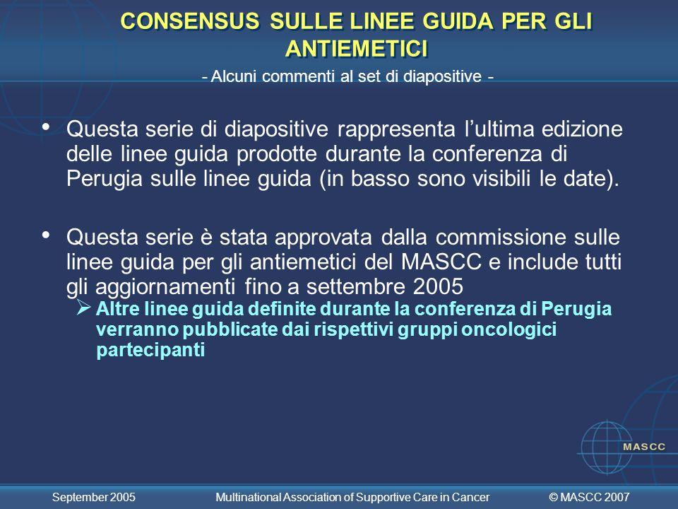 CONSENSUS SULLE LINEE GUIDA PER GLI ANTIEMETICI