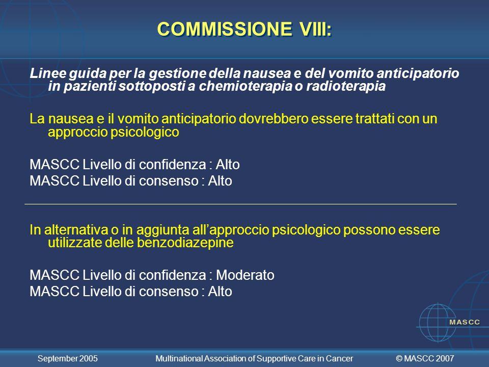 COMMISSIONE VIII: Linee guida per la gestione della nausea e del vomito anticipatorio in pazienti sottoposti a chemioterapia o radioterapia.