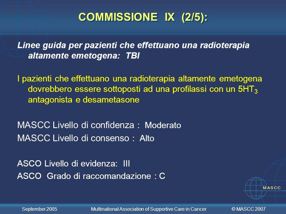 COMMISSIONE IX (2/5): MASCC Livello di confidenza : Moderato