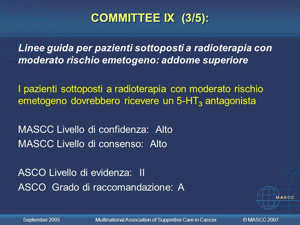 COMMITTEE IX (3/5):Linee guida per pazienti sottoposti a radioterapia con moderato rischio emetogeno: addome superiore.