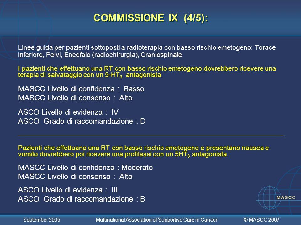 COMMISSIONE IX (4/5): MASCC Livello di confidenza : Basso