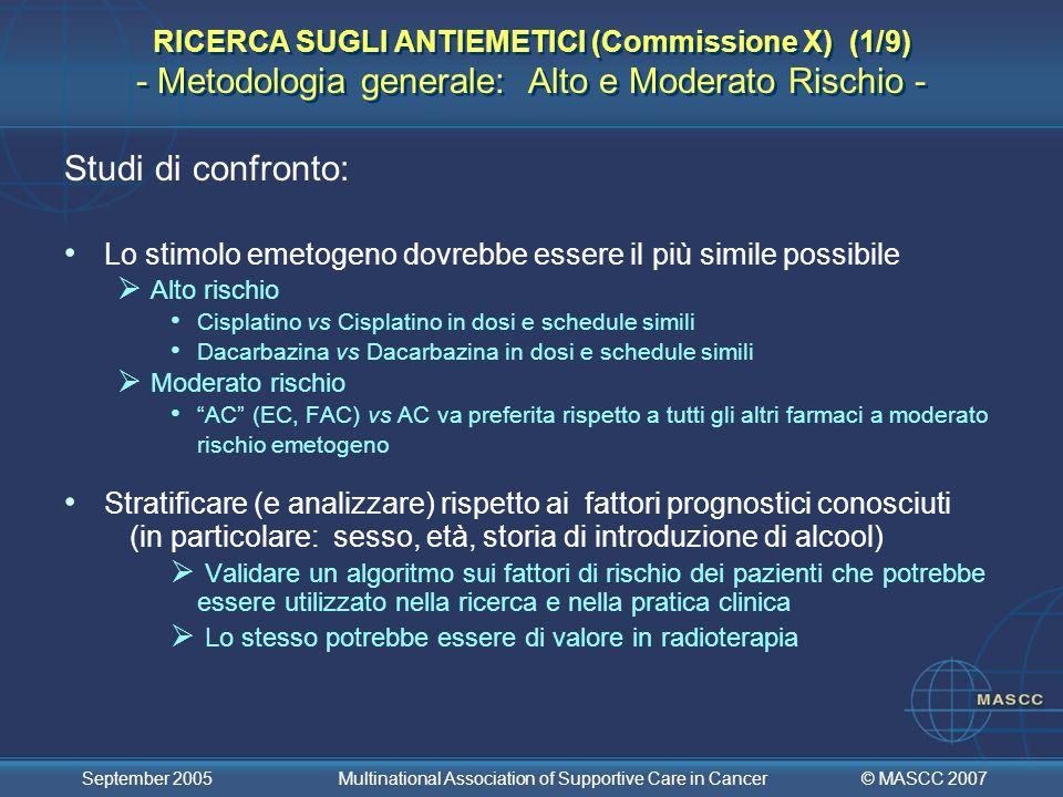 RICERCA SUGLI ANTIEMETICI (Commissione X) (1/9) - Metodologia generale: Alto e Moderato Rischio -