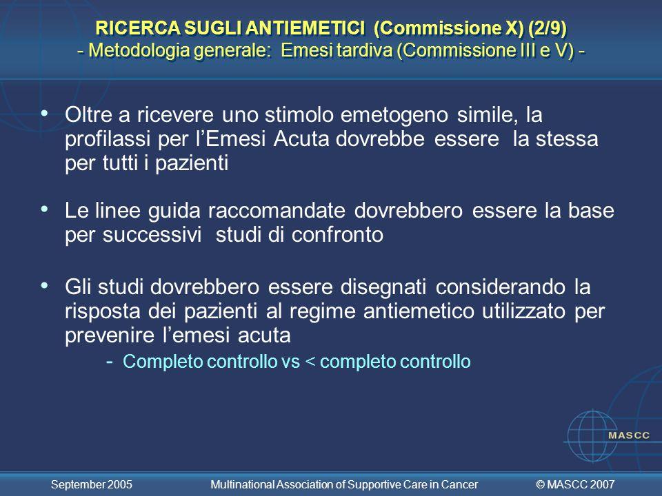 RICERCA SUGLI ANTIEMETICI (Commissione X) (2/9) - Metodologia generale: Emesi tardiva (Commissione III e V) -