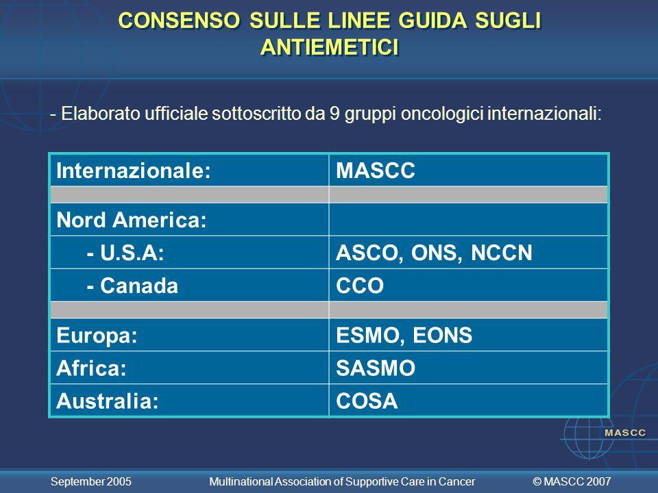CONSENSO SULLE LINEE GUIDA SUGLI ANTIEMETICI