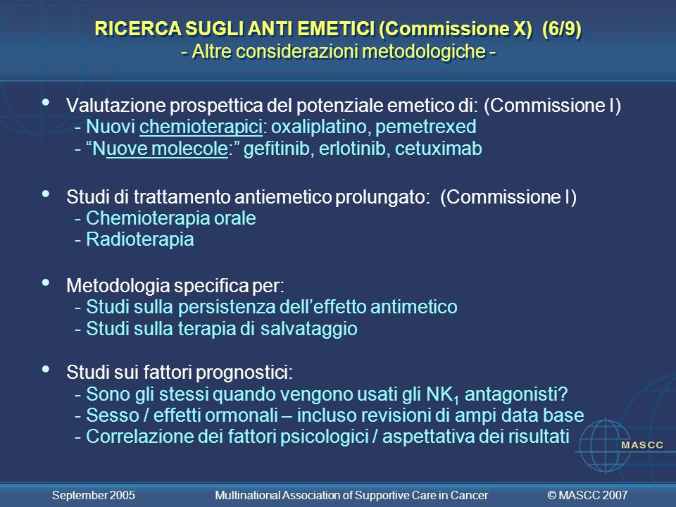 Valutazione prospettica del potenziale emetico di: (Commissione I)