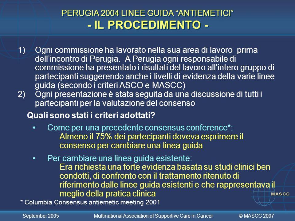 PERUGIA 2004 LINEE GUIDA ANTIEMETICI - IL PROCEDIMENTO -