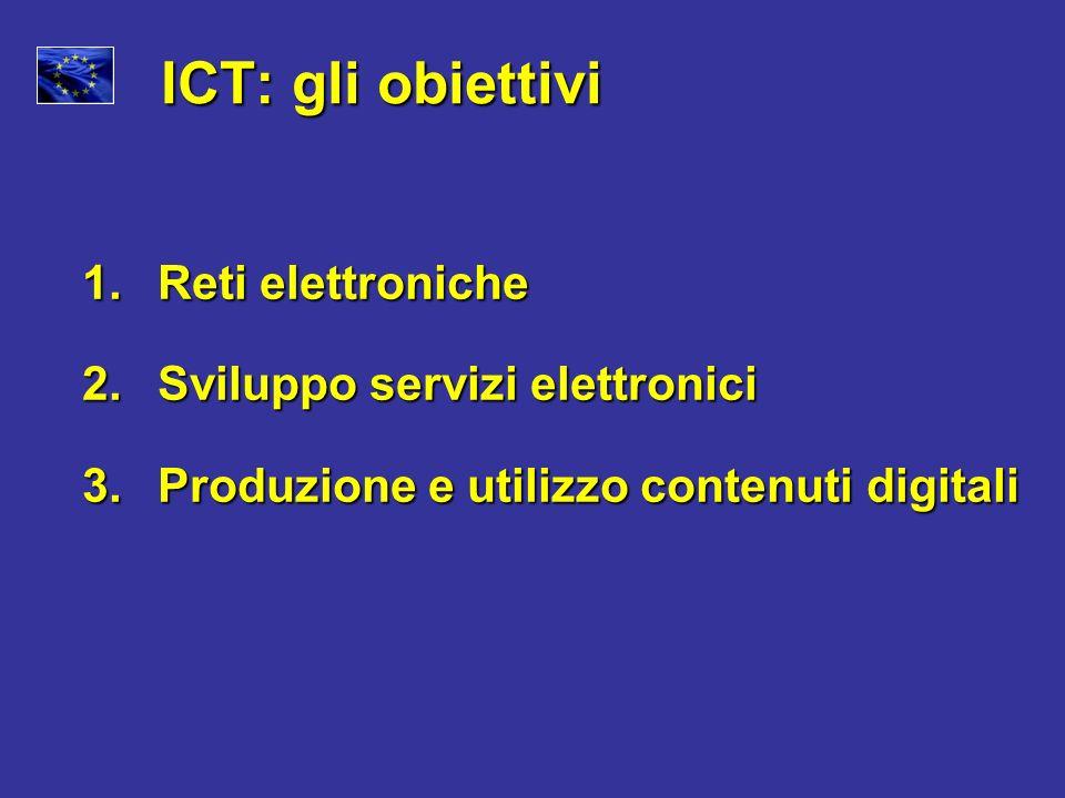 ICT: gli obiettivi Reti elettroniche Sviluppo servizi elettronici