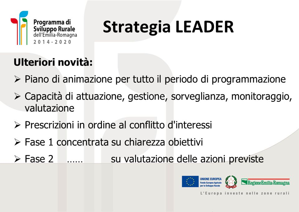 Strategia LEADER Ulteriori novità: