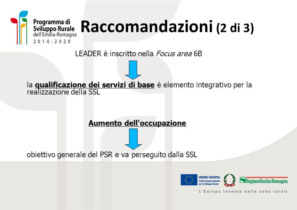 Raccomandazioni (2 di 3) LEADER è inscritto nella Focus area 6B