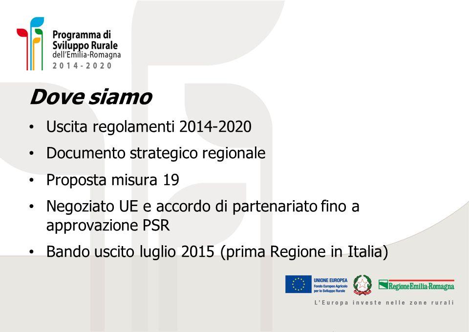 Dove siamo Uscita regolamenti 2014-2020 Documento strategico regionale