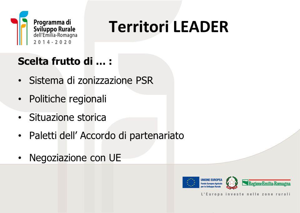 Territori LEADER Scelta frutto di … : Sistema di zonizzazione PSR