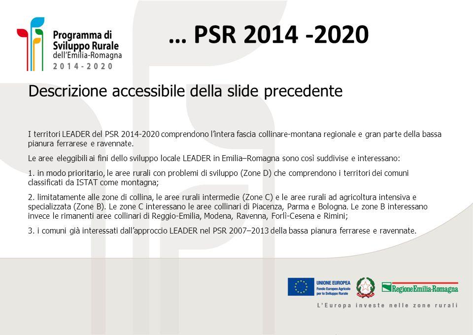 … PSR 2014 -2020 Descrizione accessibile della slide precedente