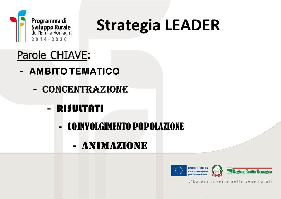 Strategia LEADER Parole CHIAVE: - AMBITO TEMATICO - concentrazione