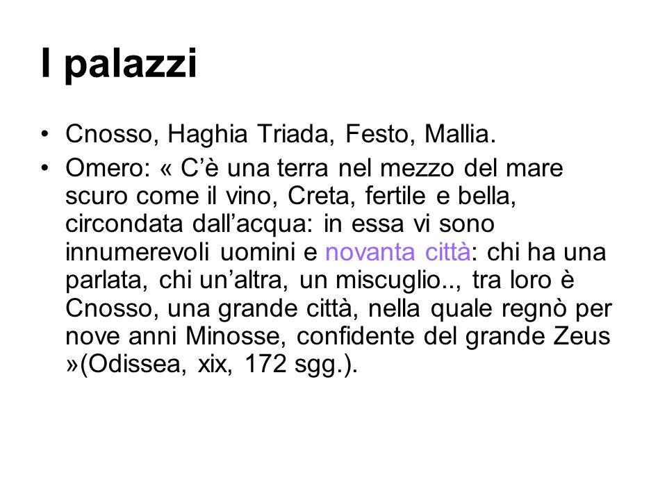 I palazzi Cnosso, Haghia Triada, Festo, Mallia.