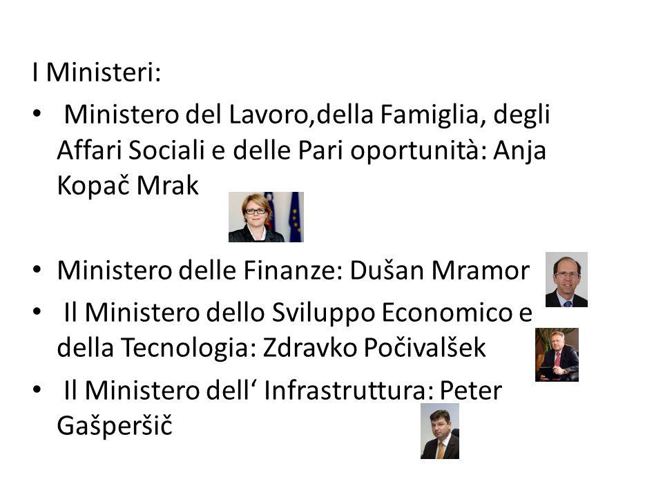 I Ministeri: Ministero del Lavoro,della Famiglia, degli Affari Sociali e delle Pari oportunità: Anja Kopač Mrak.