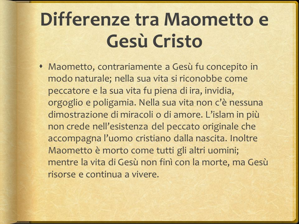 Differenze tra Maometto e Gesù Cristo