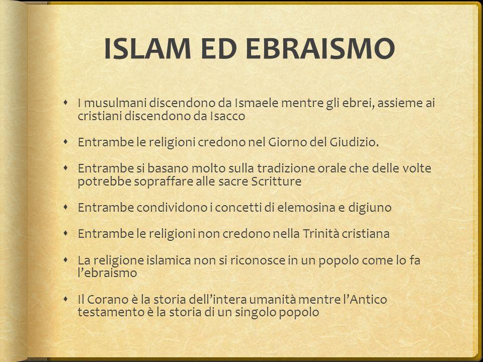 ISLAM ED EBRAISMO I musulmani discendono da Ismaele mentre gli ebrei, assieme ai cristiani discendono da Isacco.