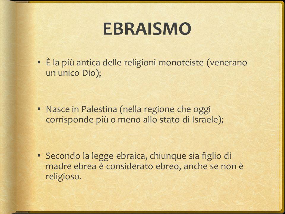 EBRAISMO È la più antica delle religioni monoteiste (venerano un unico Dio);