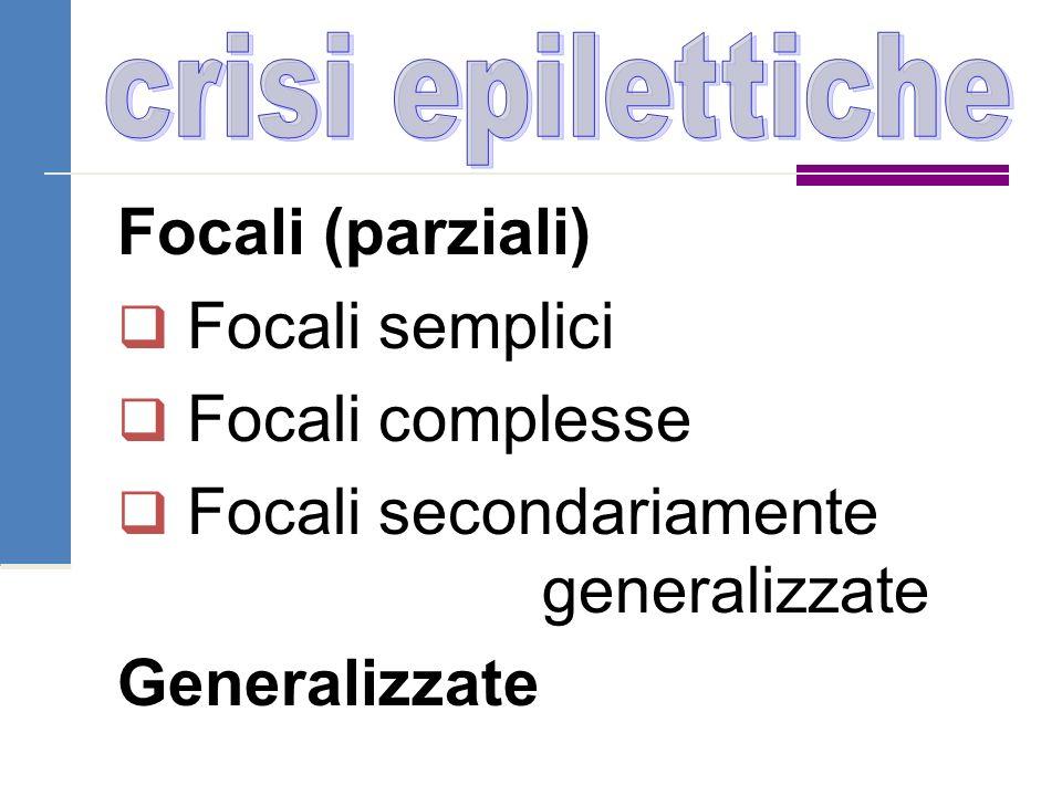 crisi epilettiche Focali (parziali) Focali semplici Focali complesse