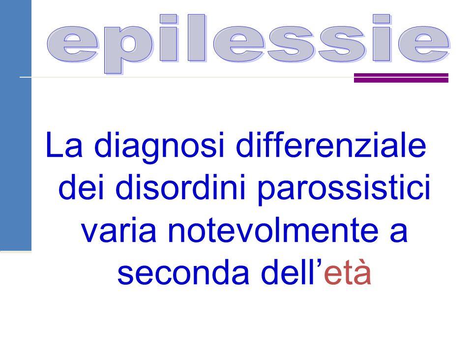 epilessie La diagnosi differenziale dei disordini parossistici varia notevolmente a seconda dell'età.