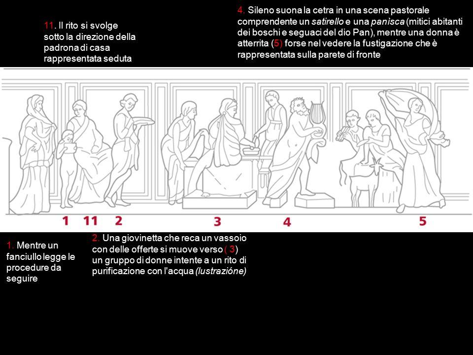 4. Sileno suona la cetra in una scena pastorale comprendente un satirello e una panìsca (mitici abitanti dei boschi e seguaci del dio Pan), mentre una donna è atterrita (5) forse nel vedere la fustigazione che è rappresentata sulla parete di fronte