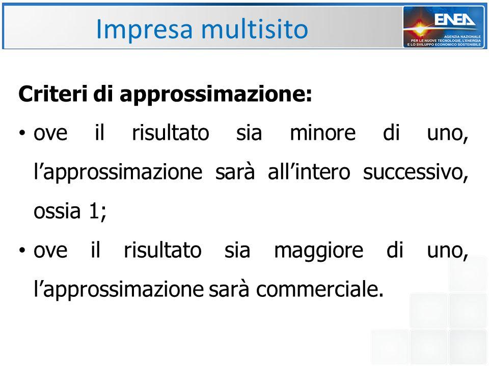 Impresa multisito Criteri di approssimazione: