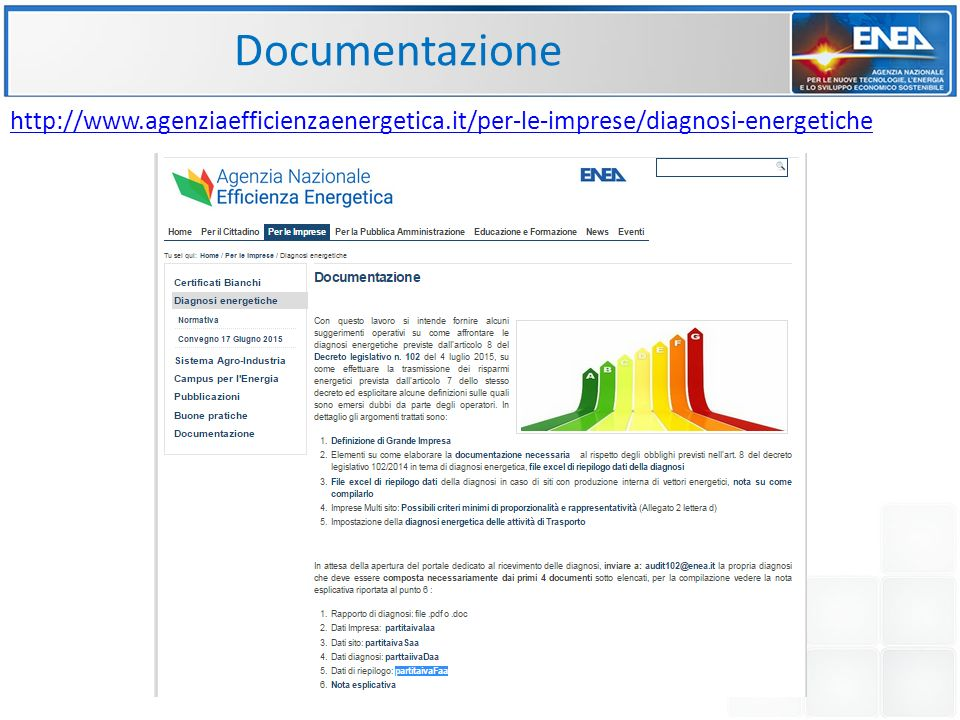 Documentazione http://www.agenziaefficienzaenergetica.it/per-le-imprese/diagnosi-energetiche