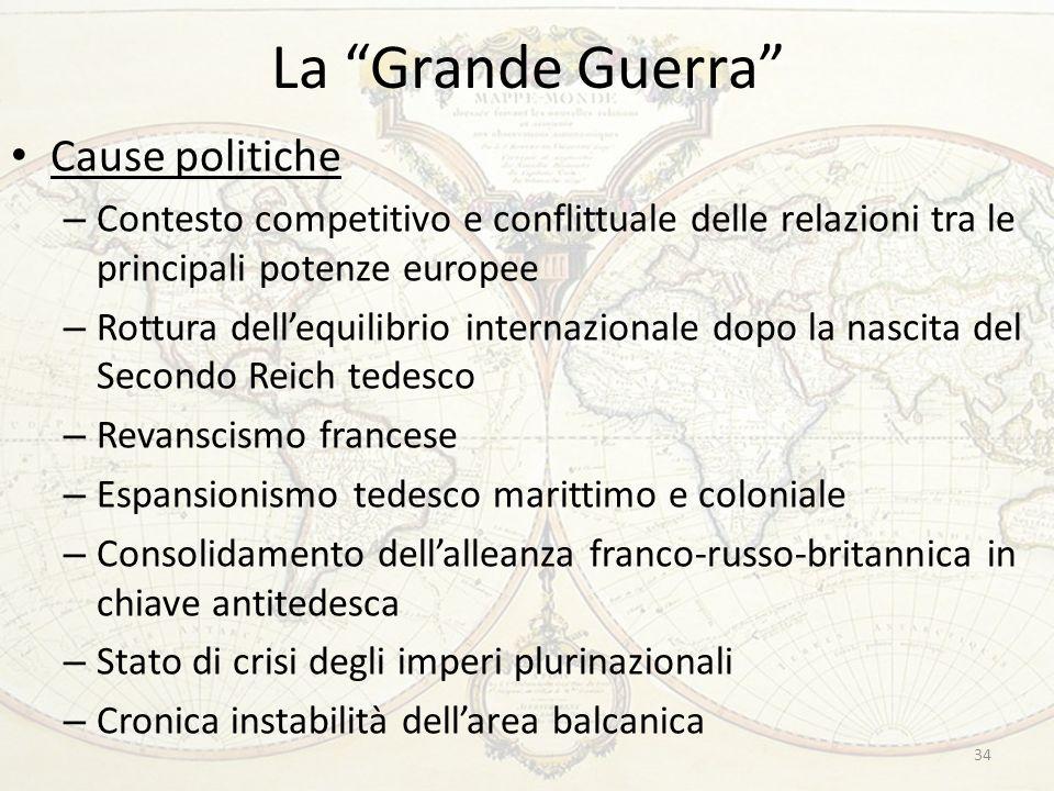 La Grande Guerra Cause politiche