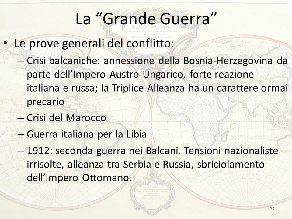 La Grande Guerra Le prove generali del conflitto: