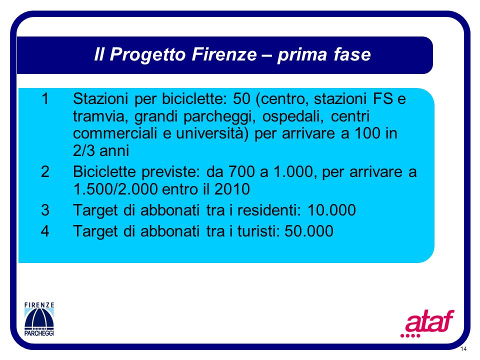 Il Progetto Firenze – prima fase