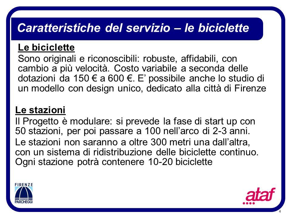 Caratteristiche del servizio – le biciclette