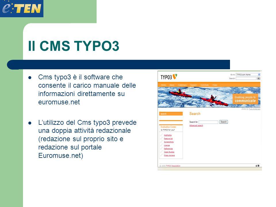 Il CMS TYPO3 Cms typo3 è il software che consente il carico manuale delle informazioni direttamente su euromuse.net.