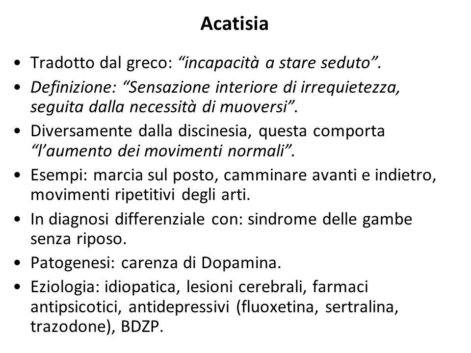 Acatisia Tradotto dal greco: incapacità a stare seduto .