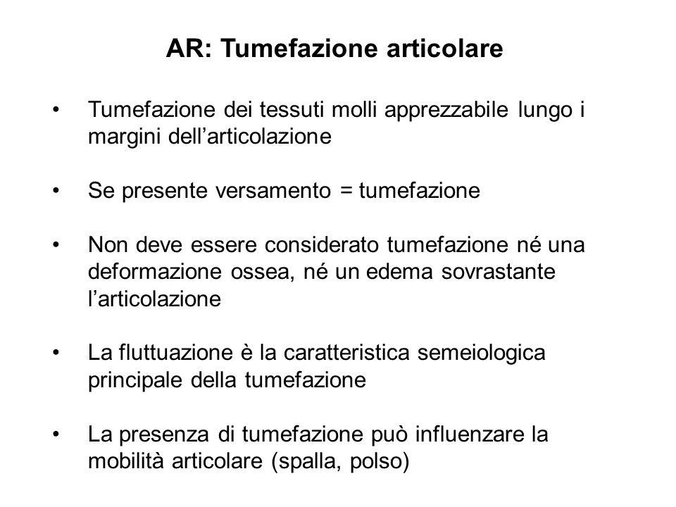 AR: Tumefazione articolare