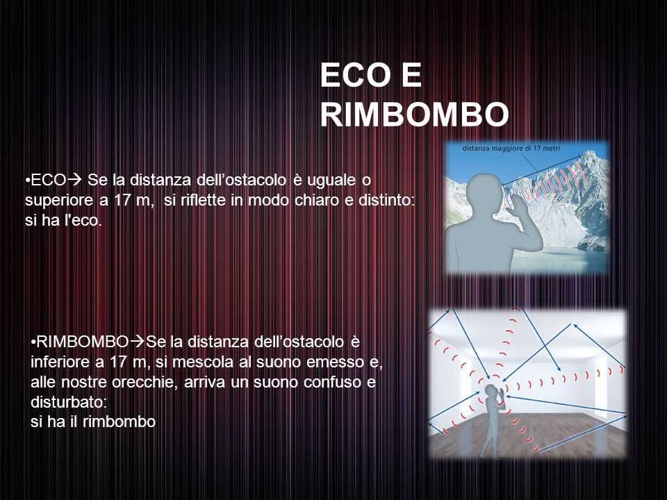 ECO E RIMBOMBO ECO Se la distanza dell'ostacolo è uguale o superiore a 17 m, si riflette in modo chiaro e distinto: si ha l eco.