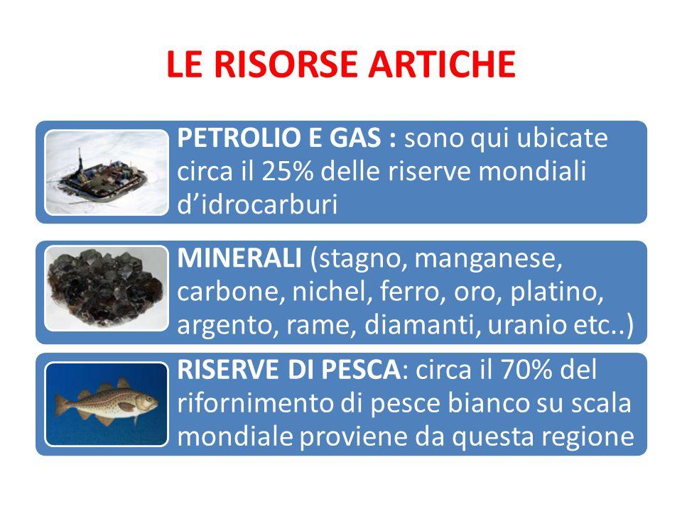 LE RISORSE ARTICHE PETROLIO E GAS : sono qui ubicate circa il 25% delle riserve mondiali d'idrocarburi.