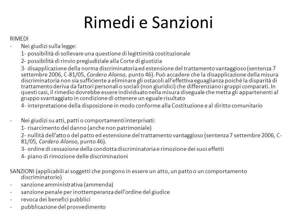 Rimedi e Sanzioni RIMEDI Nei giudizi sulla legge:
