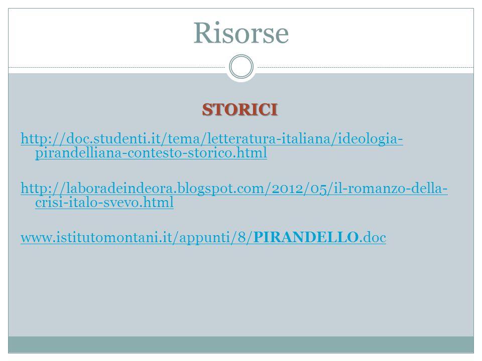 Risorse STORICI. http://doc.studenti.it/tema/letteratura-italiana/ideologia-pirandelliana-contesto-storico.html.