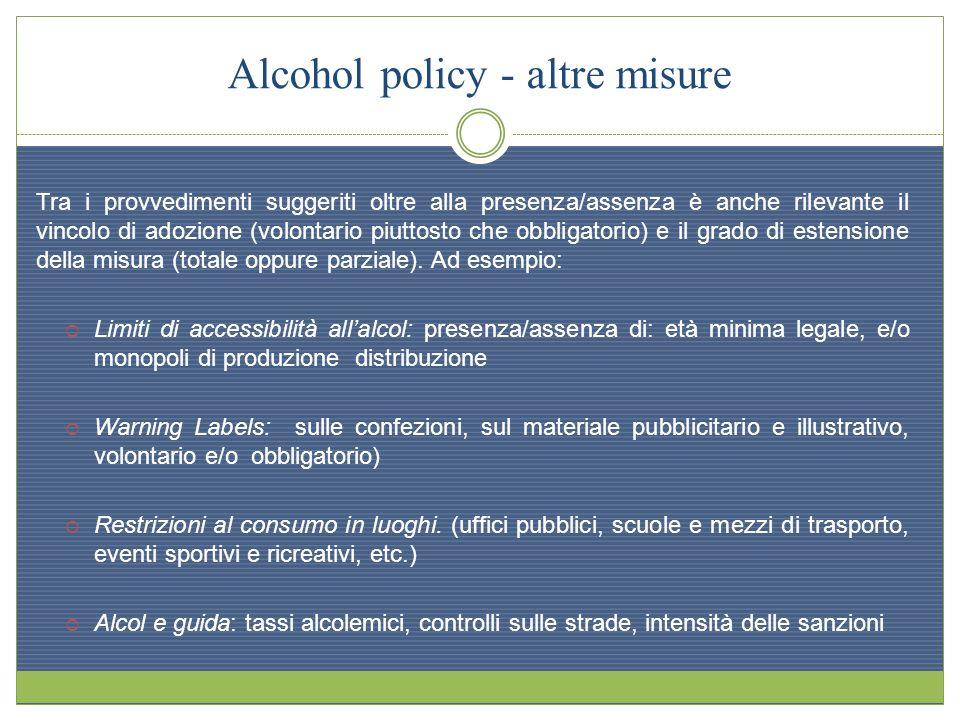 Alcohol policy - altre misure