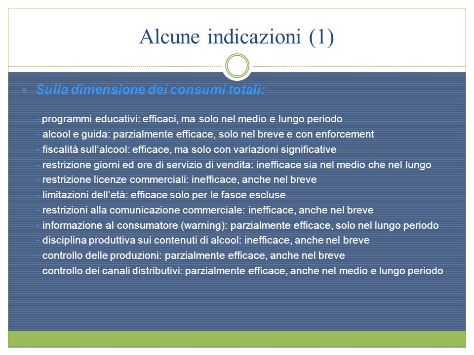 Alcune indicazioni (1) Sulla dimensione dei consumi totali: