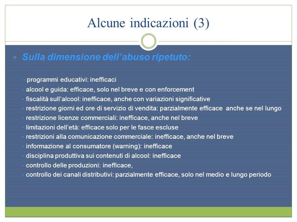 Alcune indicazioni (3) Sulla dimensione dell'abuso ripetuto: