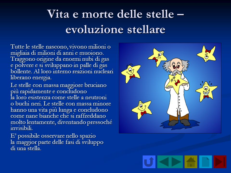 Vita e morte delle stelle – evoluzione stellare