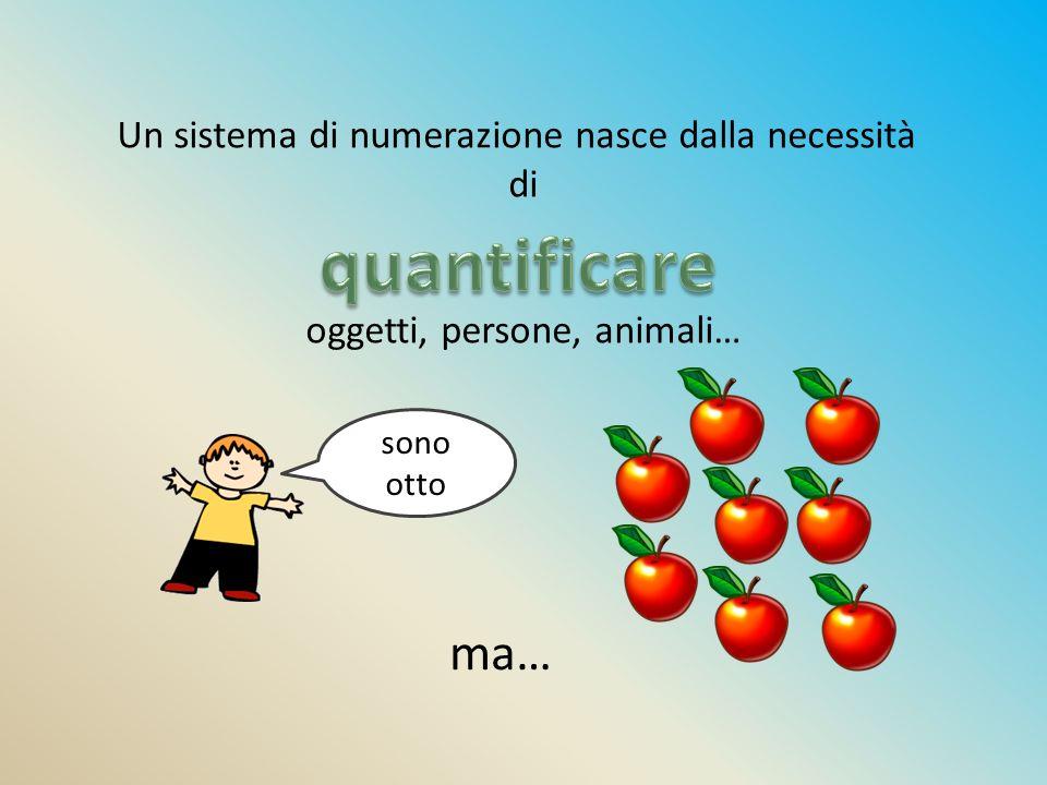 quantificare ma… Un sistema di numerazione nasce dalla necessità di