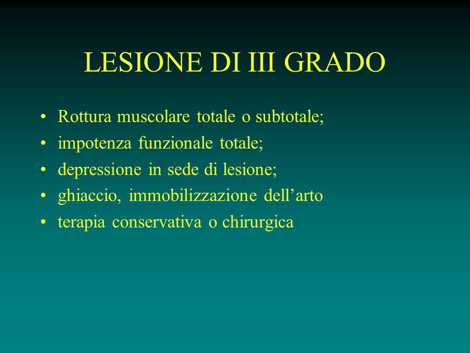 LESIONE DI III GRADO Rottura muscolare totale o subtotale;